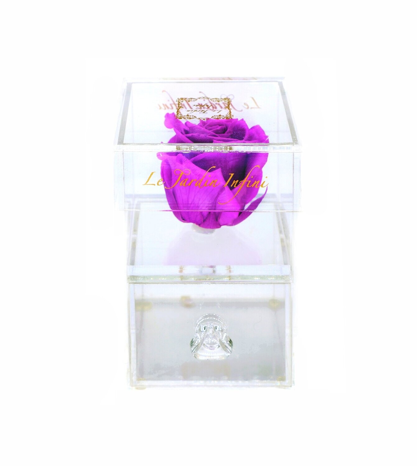 Single Lilac Preserved Rose - Acrylic Box With Drawer