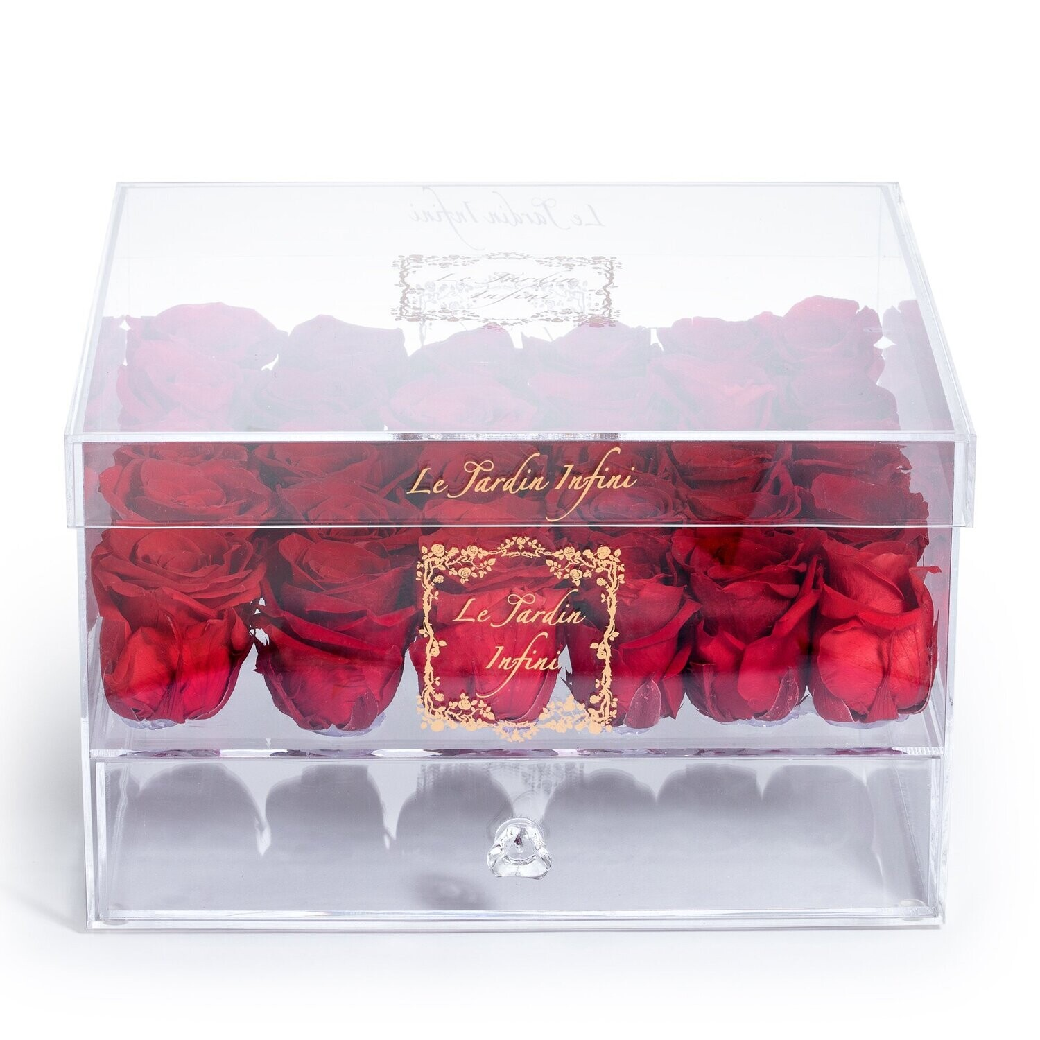 25 Red Preserved Roses - Acrylic Box With Drawer