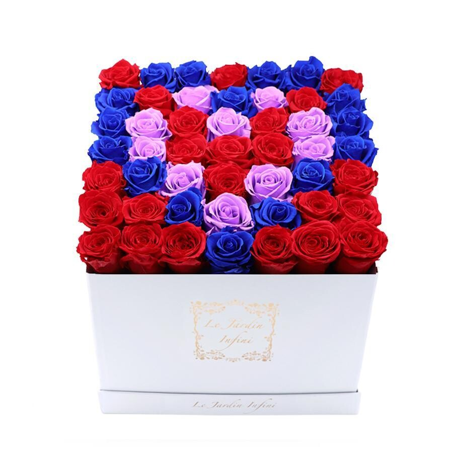 Flowers in a box for valentine's day 3 Hearts Design Red Royal Blue &