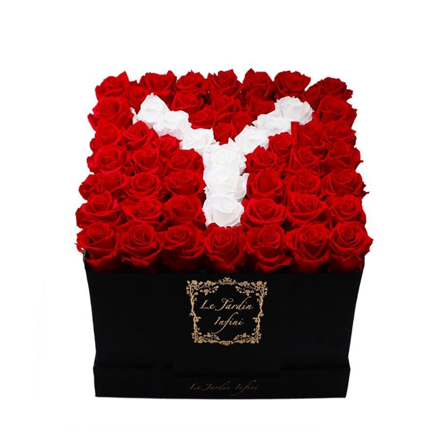 Letter Y White & Red Preserved Roses - Large Square Luxury Black Suede