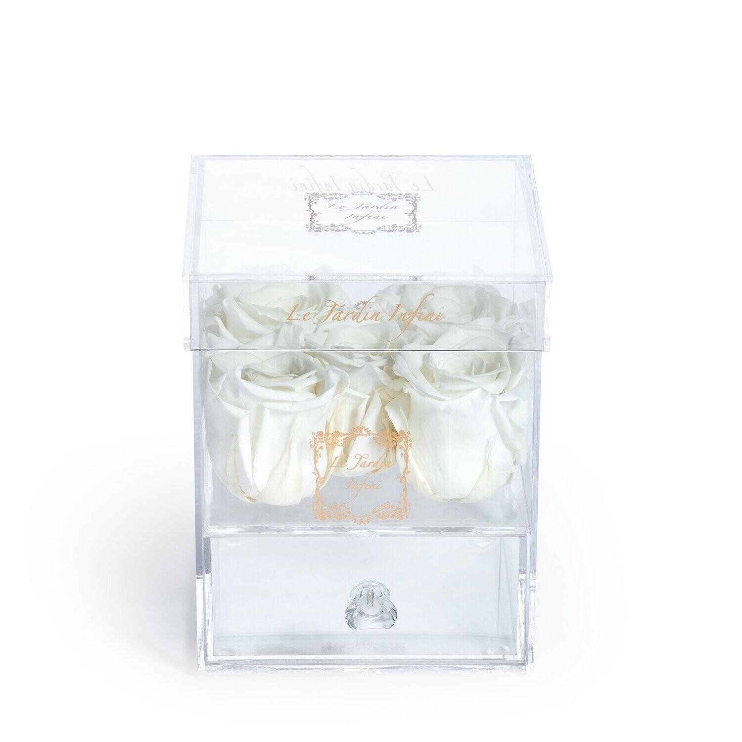 5 White Preserved Roses - Acrylic Box With Drawer