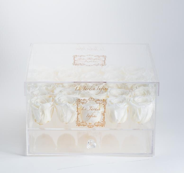 25 Custom Preserved Roses - Acrylic Box With Drawer