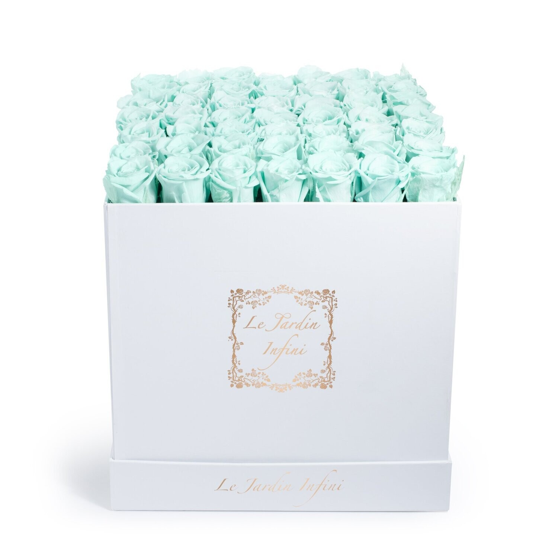 Light Green Preserved Roses - Large Square White Box