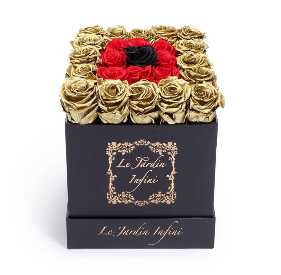 Gold, Red & 1 Black Preserved Roses - Medium Square Black Box