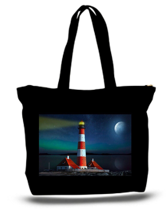 Large  Tote Grocery & Stuff Bag Landscape Fantasy Lighthouse Sea Moon