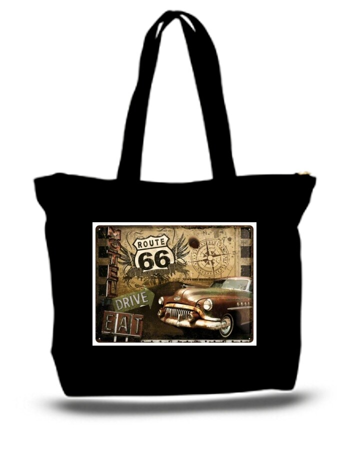 Large  Tote Grocery & Stuff Bag Tr Route 66