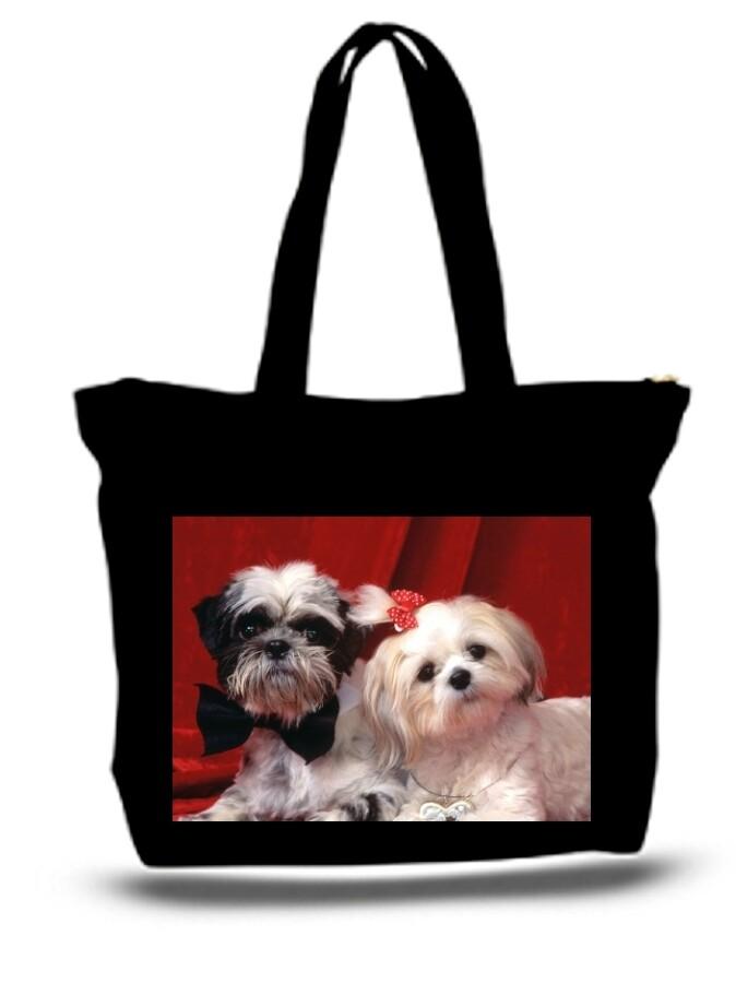 Large  Tote Grocery & Stuff Bag 2 Cute Shih Tzu