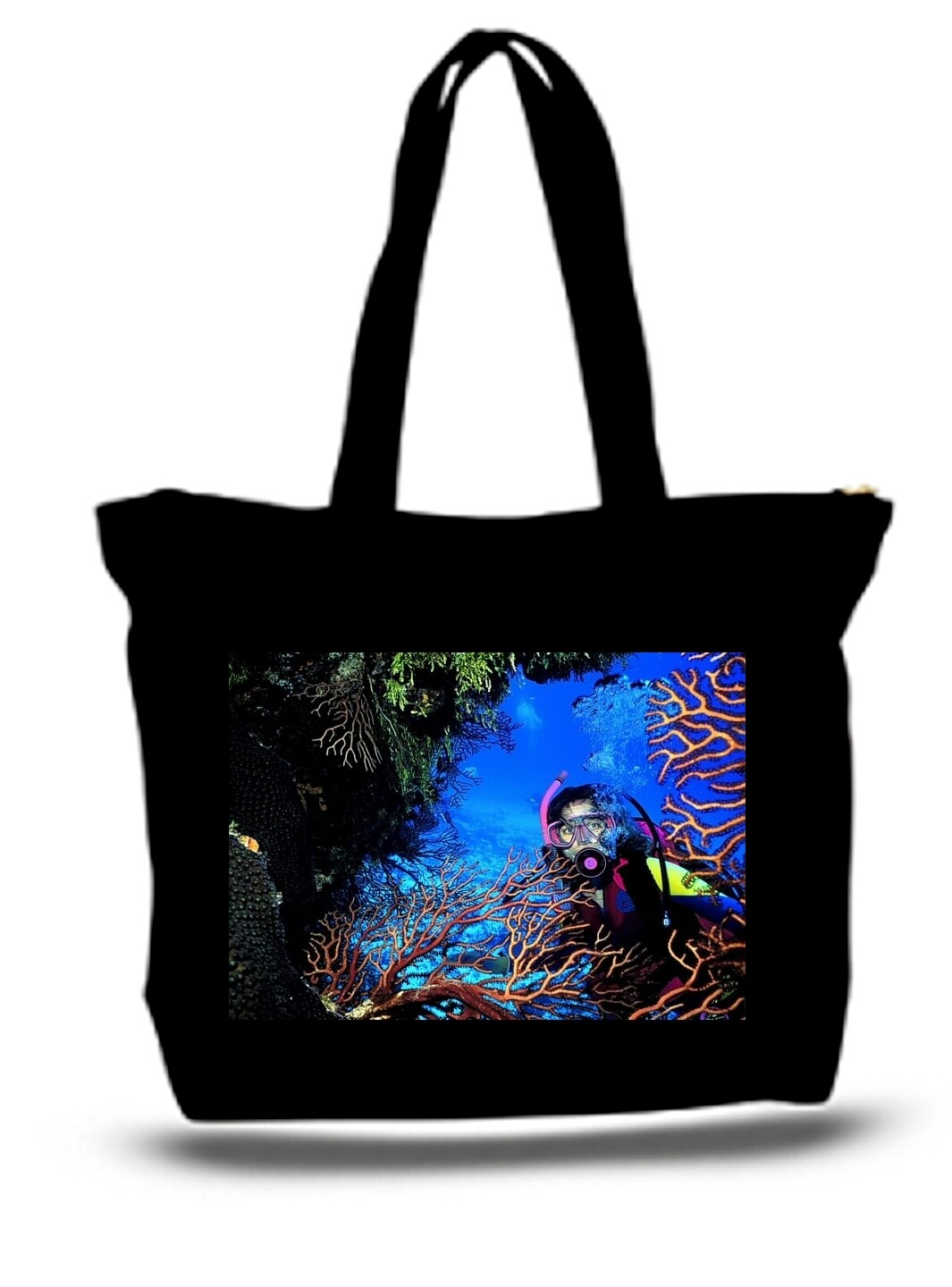 Large  Tote Grocery & Stuff Bag Coral Reef Mexico