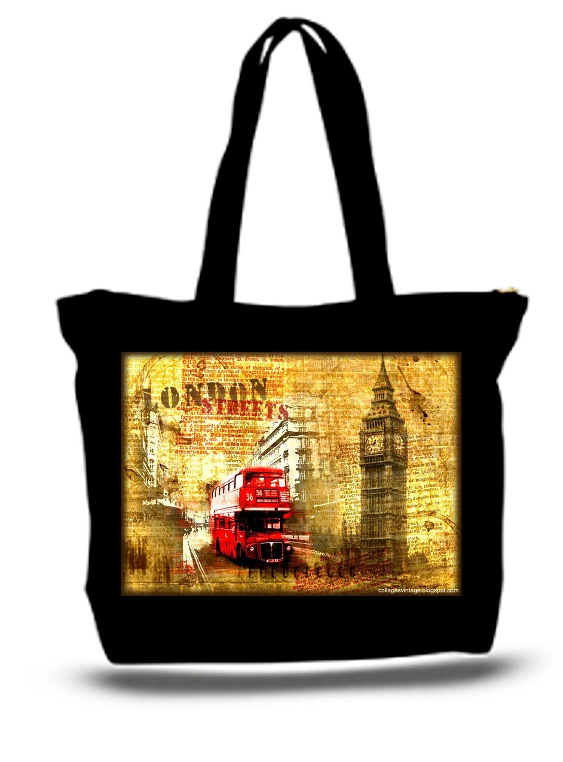 Large  Tote Grocery & Stuff Bag Streets Of London Double Decker Bus