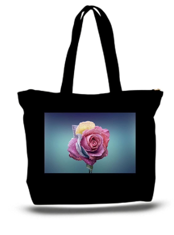 Large  Tote Grocery & Stuff Bag Pink Rose