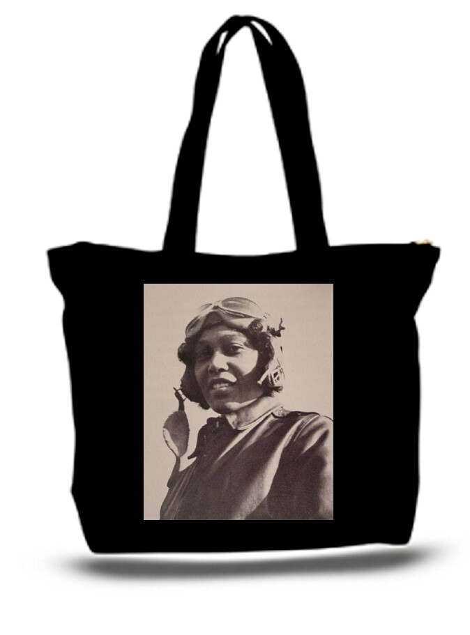Large  Tote Grocery & Stuff Bag Bessie Coleman 1940 Female Pilot