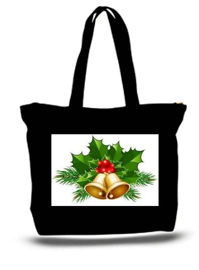 Large  Tote Grocery & Stuff Bag Holiday Christmas Bells
