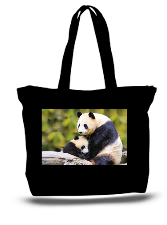 Large  Tote Grocery & Stuff Bag Panda Bear And Child