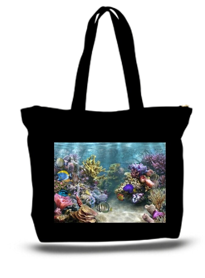 Large  Tote Grocery & Stuff Bag Coral Reef Colorful Fish