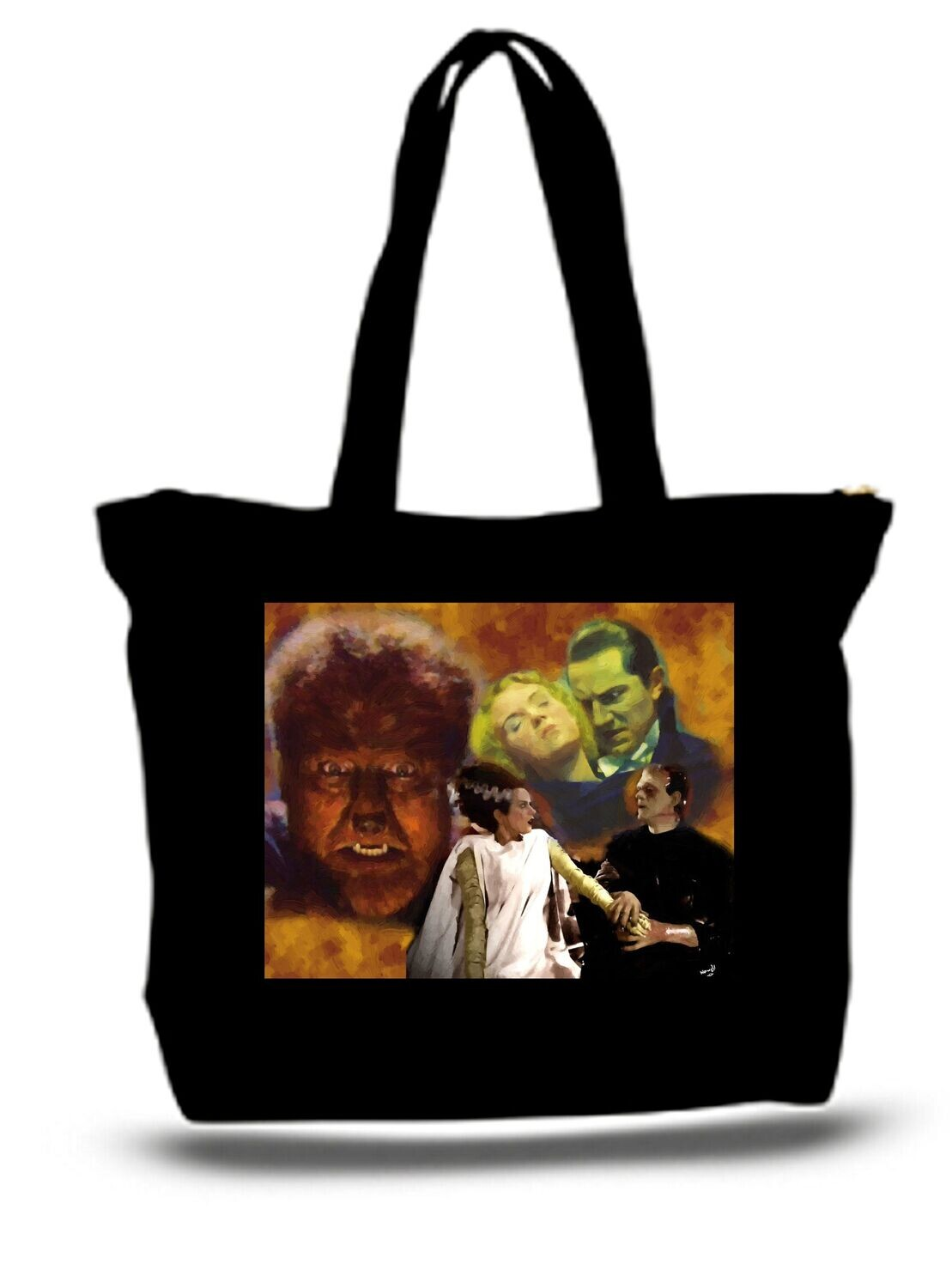 Large  Tote Grocery & Stuff Bag Bride Of Frankenstein Dracula And The