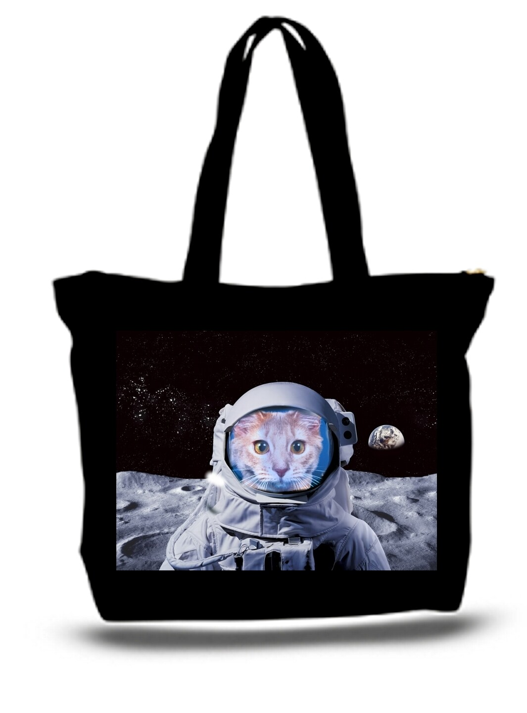 Large  Tote Grocery & Stuff Bag Astronaut Cat