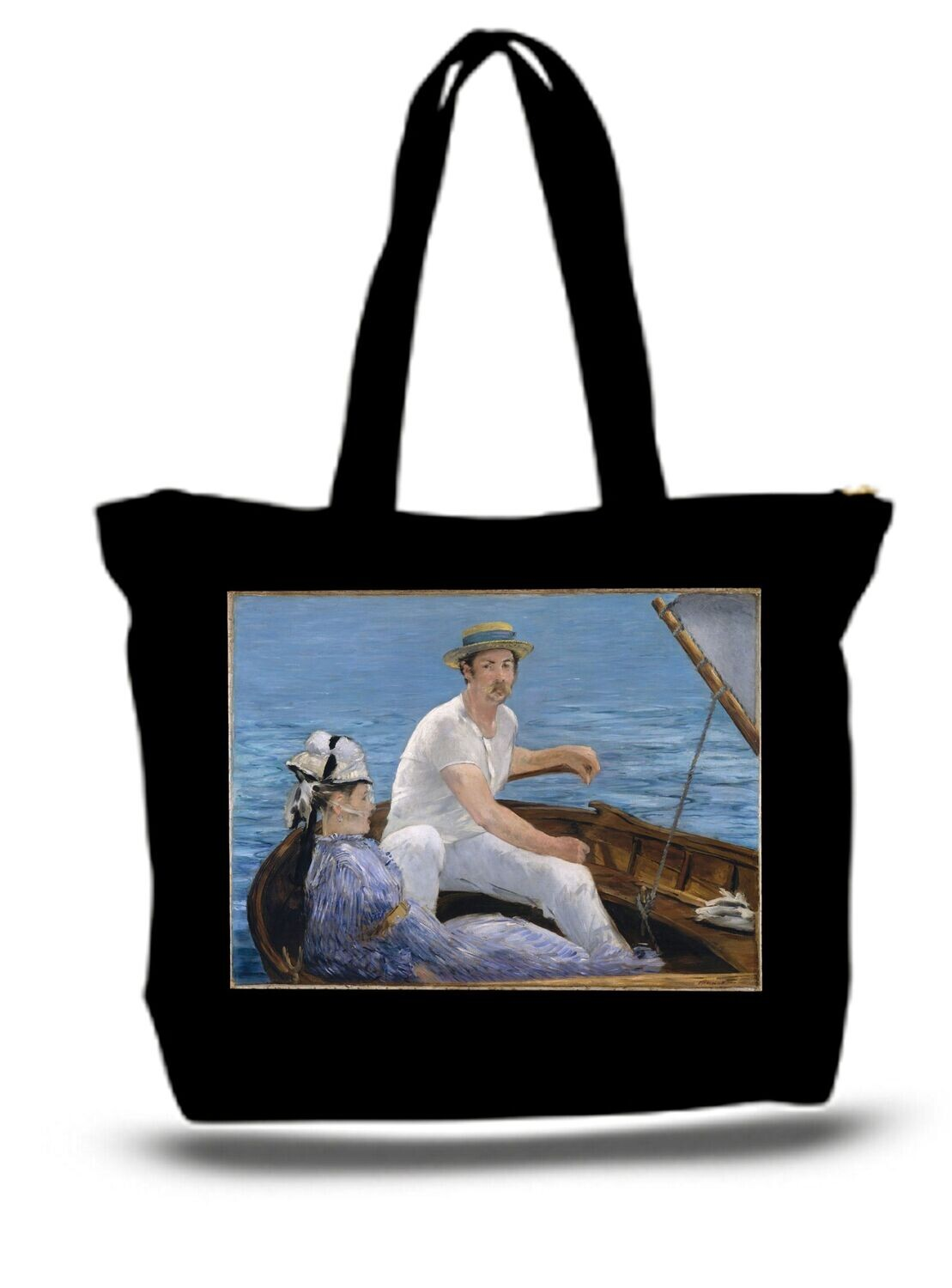 Large  Tote Grocery & Stuff Bag Boat Classic Boating Painting Edouard
