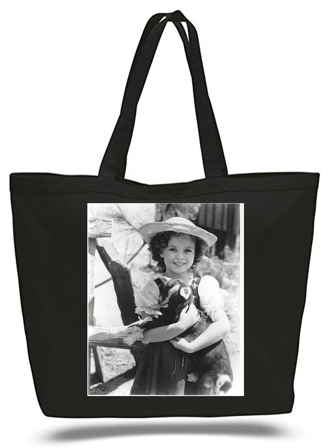 Large  Tote Grocery & Stuff Bag Sherly Temple And Her Goat
