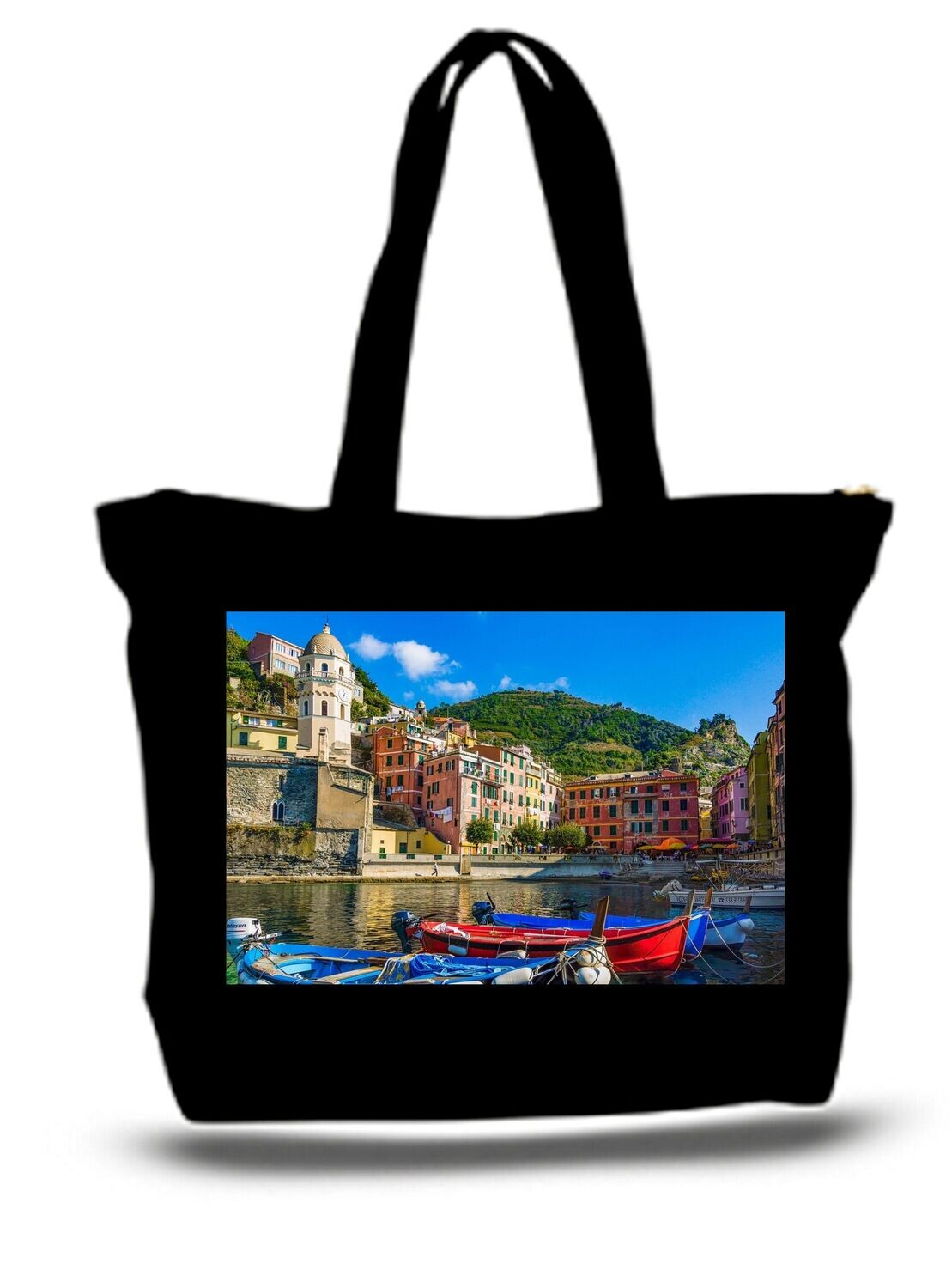 Large  Tote Grocery & Stuff Bag Cinque Terre Mediterranean Boats In