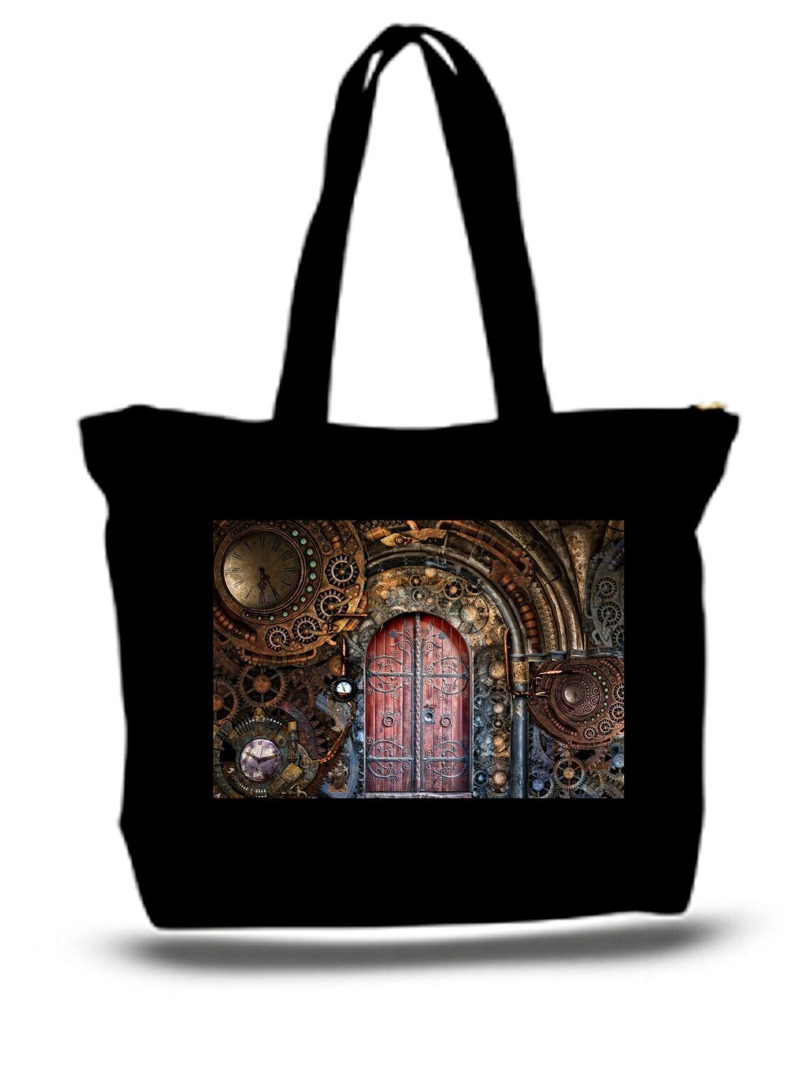Large  Tote Grocery & Stuff Bag Steampunk Gears Ans Door