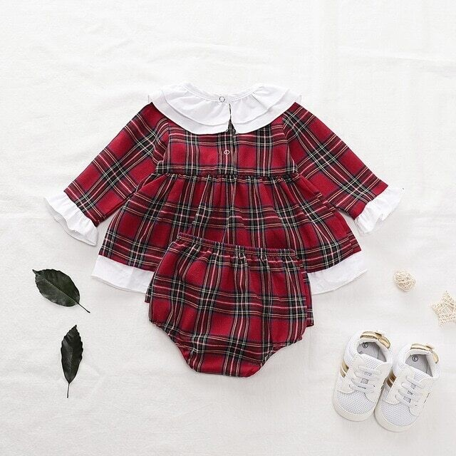 Newborn Baby Girls Clothes Ruffles long Sleeve red plaid Dress Tops