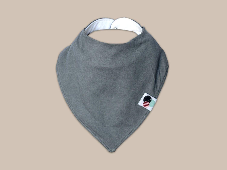 GREY SOLID | Premium Plus Baby Bandana Bib (organic cotton)