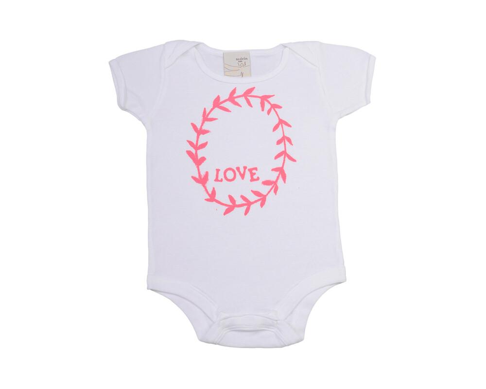 Organic infant bodysuit- Love garland print