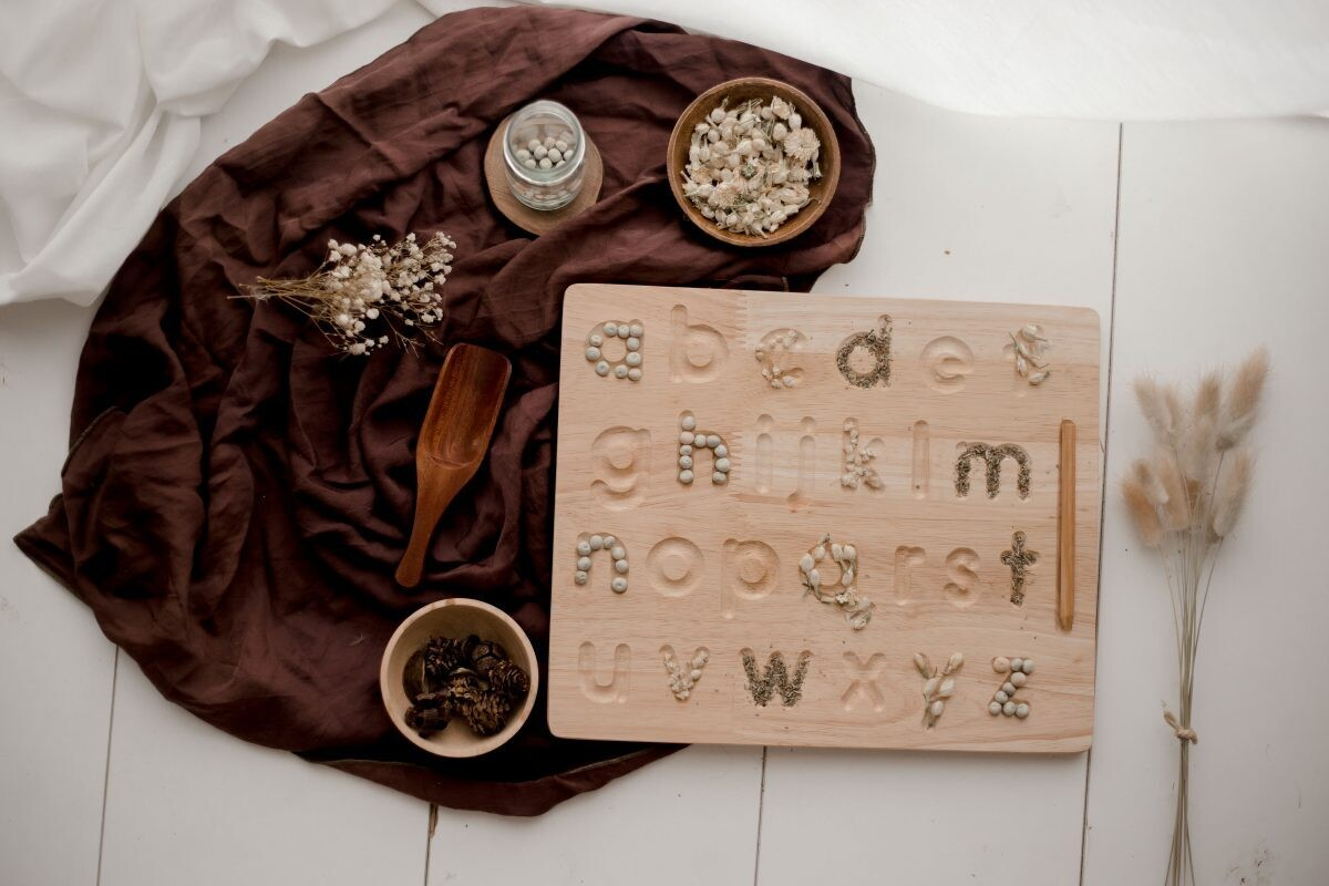 Lower case letter lacing board