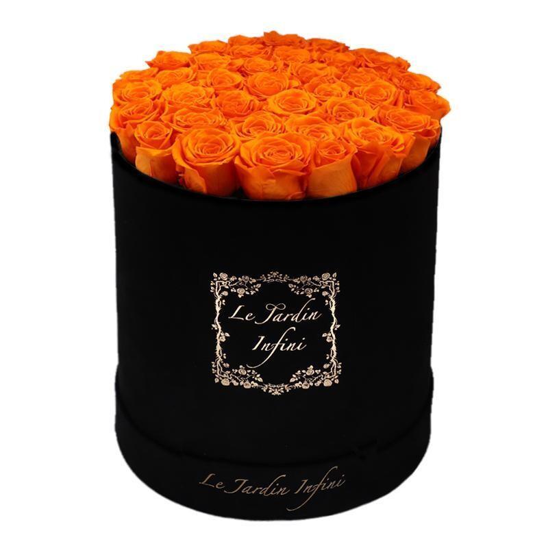 Orange Preserved Roses - Large Round Luxury Black Suede Box