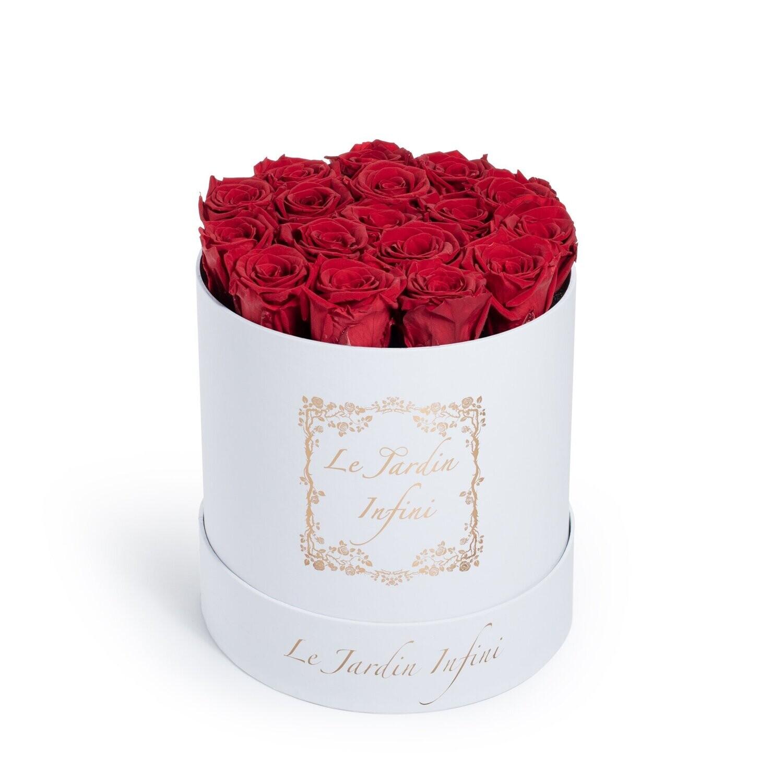 Red Preserved Roses - Medium Round White Box
