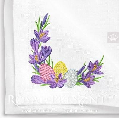 Дизайн машинной вышивки Пасхальная угол из крокусов - 5 размеров