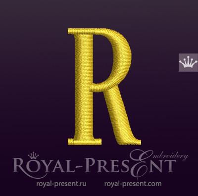 Дизайн машинной вышивки Заглавная буква R вариант 2