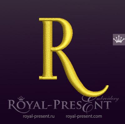 Дизайн машинной вышивки Заглавная буква R вариант 3