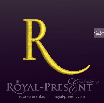 Дизайн машинной вышивки Заглавная буква R вариант 4