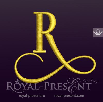 Дизайн машинной вышивки Заглавная буква R вариант 5