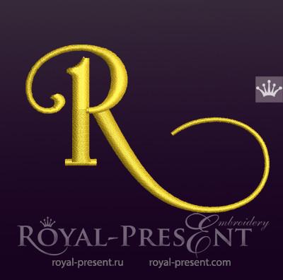 Дизайн машинной вышивки Заглавная буква R вариант 6