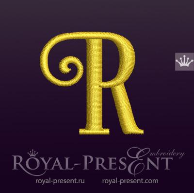 Дизайн машинной вышивки Заглавная буква R вариант 7