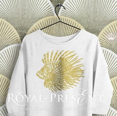 Дизайн машинной вышивки Тропическая Рыба-Зебра - 6 размеров