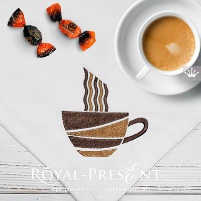 Стилизованная чашка кофе Дизайн машинной вышивки