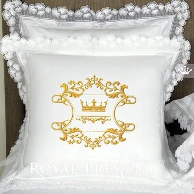 Дизайн машинной вышивки Корона с вензелями - 5 размеров