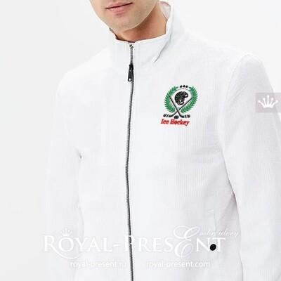 Дизайн машинной вышивки Логотип Хоккей - 2 размера