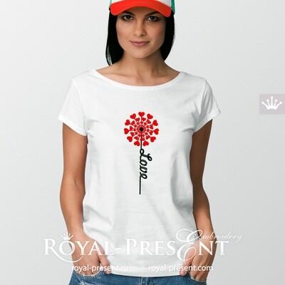 Дизайн машинной вышивки Одуванчик - 5 размеров