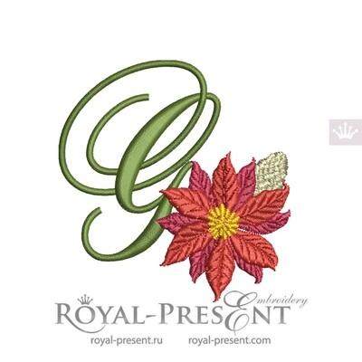 Заглавная Буква G с пуансетией Дизайн машинной вышивки