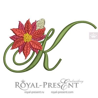 Заглавная Буква K с пуансетией Дизайн машинной вышивки