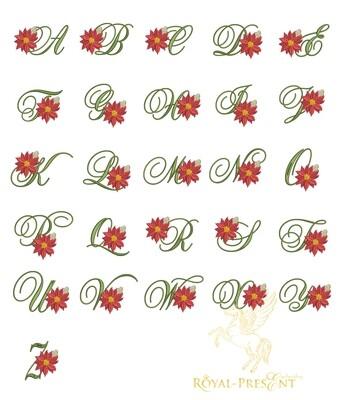 Заглавные Буквы с пуансетией Дизайны машинной вышивки