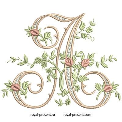 Монограмма A с розами Дизайн машинной вышивки