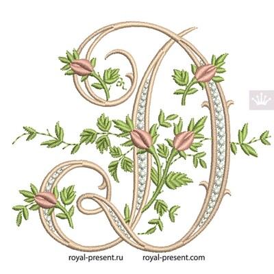 Монограмма D с розами Дизайн машинной вышивки