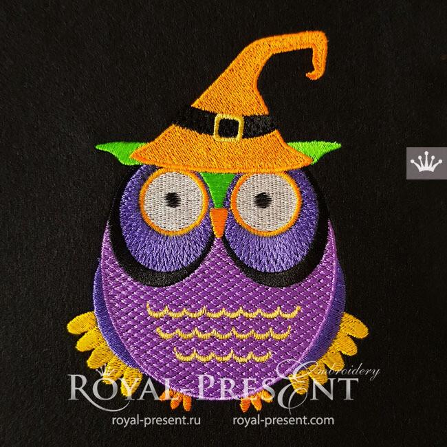 Дизайн машинной вышивки Сова Ведьма Хэллоуин - 3 размера