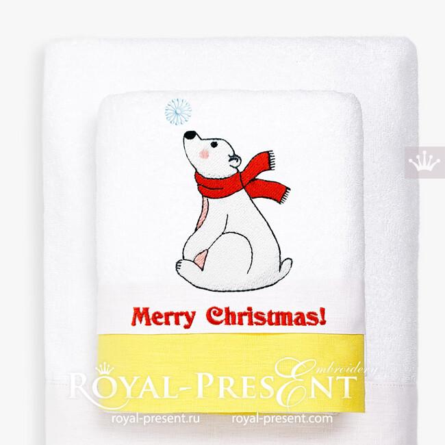 Белый Мишка со снежинкой Дизайн машинной вышивки - 2 размера