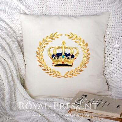 Корона в Лавровом Венке Дизайн машинной вышивки - 4 размера